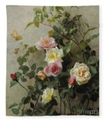 Roses On A Wall Fleece Blanket