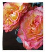 Roses On Dark Background Fleece Blanket