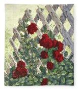Roses On Lattice Fleece Blanket