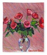 Roses On Pink Fleece Blanket