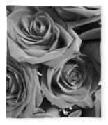 Roses On Your Wall Black And White  Fleece Blanket