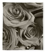 Roses On Your Wall Sepia Fleece Blanket