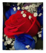 Roses - Red White And Blue Fleece Blanket
