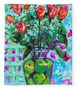 Roses With Apples Fleece Blanket