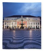 Rossio Square At Night In Lisbon Fleece Blanket