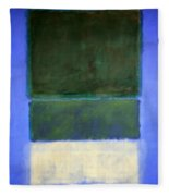 Rothko's No. 14 -- White And Greens In Blue Fleece Blanket
