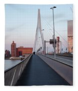 Rotterdam Downtown Skyline At Sunset Fleece Blanket