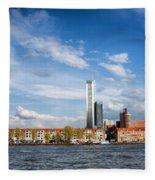 Rotterdam Skyline In Netherlands Fleece Blanket