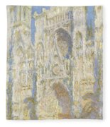 Rouen Cathedral West Facade Fleece Blanket