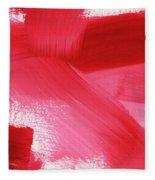 Rouge 2- Horizontal Abstract Painting Fleece Blanket by Linda Woods