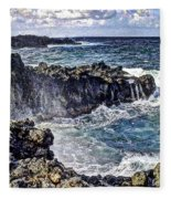 Rough Rocks Near Hana Fleece Blanket