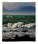 Rough Seas Kaikoura New Zealand Fleece Blanket