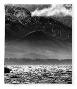 Rough Seas Kaikoura New Zealand In Black And White Fleece Blanket