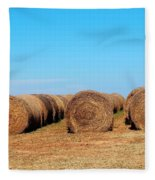 Round Bales Of Hay Fleece Blanket