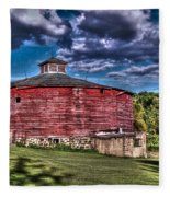 Round Red Barn Fleece Blanket