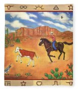 Round Up And Cattle Brands Fleece Blanket