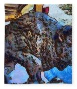 Round Up Market Buffalo Fleece Blanket