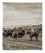Rounding Up Cattle In Cornville Arizona Sepia Fleece Blanket