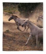 Rounding Up Horses On The Ranch Fleece Blanket