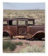 Route 66 - Abandoned Car Fleece Blanket