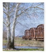Route 66 Bridge Fleece Blanket