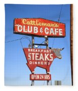 Route 66 - Cattleman's Club And Cafe Fleece Blanket