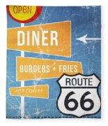 Route 66 Diner Fleece Blanket by Linda Woods