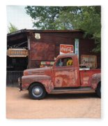 Route 66 Garage And Pickup Fleece Blanket