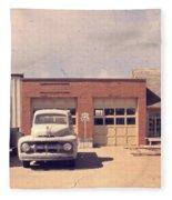 Route 66 Garage Fleece Blanket