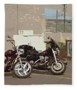Route 66 Motorcycles With A Dry Brush Effect Fleece Blanket