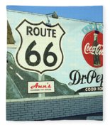 Route 66 - Mural With Shield Fleece Blanket