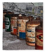 Route 66 Odell Il Gas Station Oil Cans Digital Art Fleece Blanket