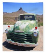 Route 66 - Old Green Chevy Fleece Blanket