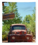 Route 66 Truck Fleece Blanket