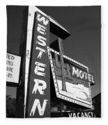 Route 66 - Western Motel 7 Fleece Blanket