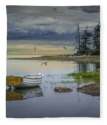 Row Boat By Mount Desert Island Fleece Blanket