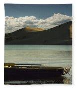 Row Boat On Silver Lake With Dunes Fleece Blanket