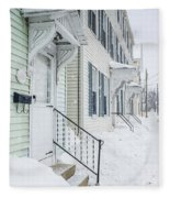 Row Houses On A Snowy Day Fleece Blanket by Edward Fielding