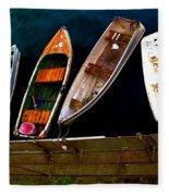 Row Of Rowboats  Fleece Blanket