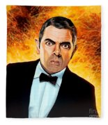 Rowan Atkinson Alias Johnny English Fleece Blanket