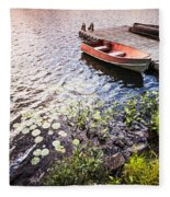 Rowboat At Lake Shore At Sunrise Fleece Blanket