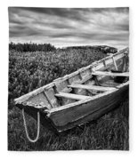 Rowboat At Prospect Point - Black And White Fleece Blanket