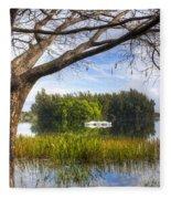Rowboats At The Lake Fleece Blanket