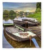 Rowboats On The French Canals Fleece Blanket