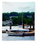 Rowboats Piled At Dock Fleece Blanket