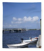 Rowboats Tied To Dock Fleece Blanket