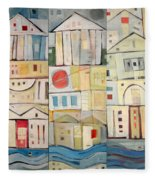 Rowhouses Triptych Fleece Blanket