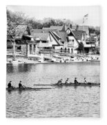 Rowing Along The Schuylkill River In Black And White Fleece Blanket