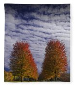 Rows Of Red Autumn Trees With Cirus Clouds Fleece Blanket