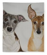 Roxie And Bruno The Greyhounds Fleece Blanket
